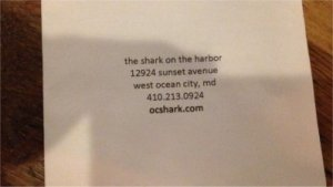 Shark on the Harbor info from menu